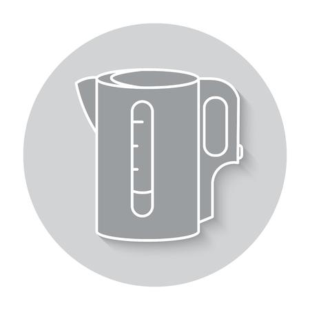 electric tea kettle: Electric kettle monochrome symbol. Tea, Teapot icon. round illustration.