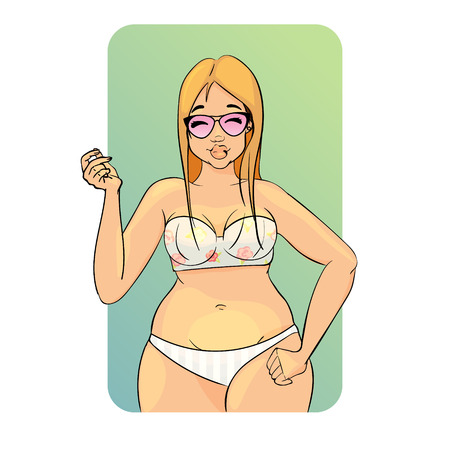 Vector cartoon character. Summer. glamour blonde girl wearing bikini. Isolated on blue background. gradient background.