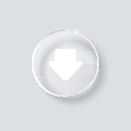 torrent: download sign icon. round transparent button isolated on white background. glass surface. arrow down