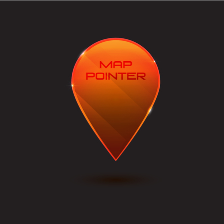 wite: Map vector icon. Location pointer. transparent gloss surface