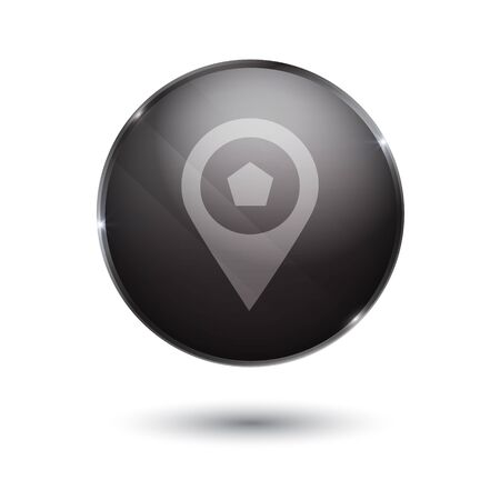 torrent: point sign icon. round black button isolated on white background. glass surface.
