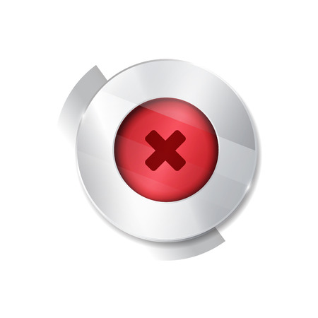 acceptation: no button. 3d. silver elements with glass surface. red. stop cancel