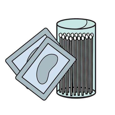 lash: hygiene icons. eyelash Vector Picture lash extensions signs. eye patches. cotton buds. color image Illustration