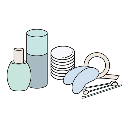 lash: hygiene icon. Vector Picture. lash extensions materials . eye patches. cotton buds. color image. cotton sponge. Brush for eyelashes. mascara bud. cosmetology elements. bottle for cosmetics Illustration