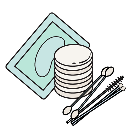 lash: hygiene icon. Vector Picture. lash extensions materials . eye patches. cotton buds. color image. cotton sponge. Brush for eyelashes. mascara bud. cosmetology elements