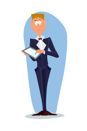 Business man cartoon character. illustration. Man with PC tablet Stock Photo
