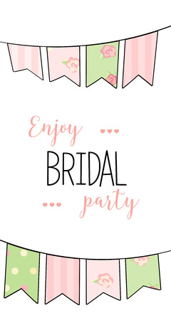 bachelorette: bridal shower. cute girl in wedding dress hending flowers. print on t-shirt. Bachelorette party. announcement for bridal shower party. invitation or congratulation card. garland, flags Illustration