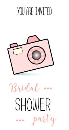 bachelorette: Bachelorette party template. bridal shower. print on t-shirt. photographer banner or sticker. wedding. pink fotoaparat