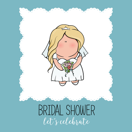 bachelorette: bridal shower. cute girl in wedding dress hending flowers. print on t-shirt. Bachelorette party. Romantic announcement for bridal shower party. invitation or congratulation card in cute doodle style.