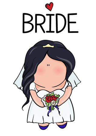 bridal shower. cute girl in wedding dress hending flowers. print on t-shirt. Bachelorette party. red heart. banner or sticker. Illustration