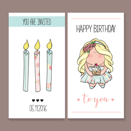 Happy Birthday Card Set In Cute Doodle Style Little Girl Holding