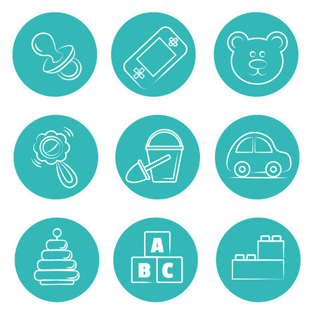 psp: round toys icons set. Isolated vector signs. flat style. contour lines hand drawn. blocks, pyramid, bucket, shovel, rattle, car, psp,