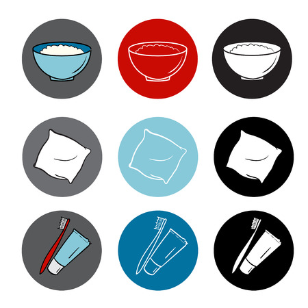 food hygiene: healthy life icons set. food, hygiene, sleep. round elements. red blue color flat style
