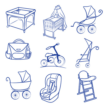 baby chair: Baby accessories icon set. line sketch , Hand drawn Baby chair for feeding, pram, baby car seat, bag, bisycle, playpen Illustration