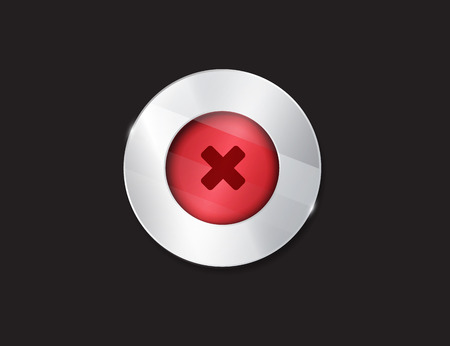 acceptation: no button. 3d. silver elements with glass surface. red. stop. cancel Illustration