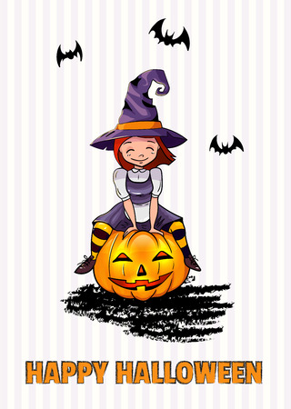Illustration of a Halloween Witch sitting on the pumpkin. Cute little young child girl. bats. character. happy halloween