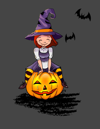 child sitting: Illustration of a Halloween Witch sitting on the pumpkin. Cute little young child girl. Illustration