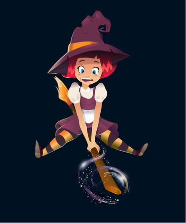 illustration of scared witch flying on broom. little young girl character. black background. magic sparcle. happy halloween