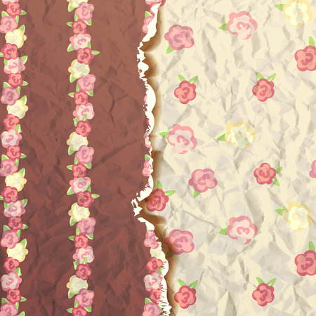 provence: shabby chic. provence style. album cover. flowers paper texture. brown and yellow