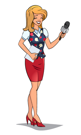 female journalist or TV reporter. Vector illustration. Cartoon character. Isolated. Interview Conversation. woman in elegant business suit. microphone