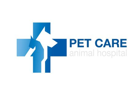 veterinary cross and pets on white background. flat logo. animal icon. symbol with dog and cat,