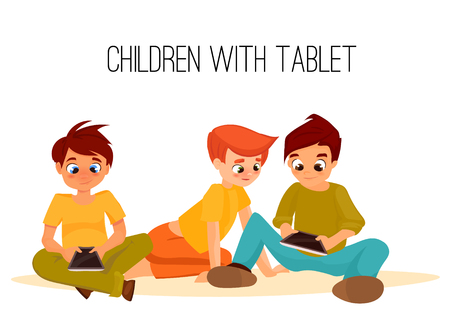 mobile phones: Children boys played in tablet. children sit and chat on Internet. gadget addiction. video games. cartoon character Illustration