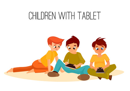 habituation: 3 Children boys played in tablet. children sit and chat on Internet. gadget addiction. video games. cartoon character