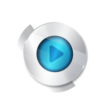 torrent: play sign icon. round white button isolated on white background. glass surface. player. start.