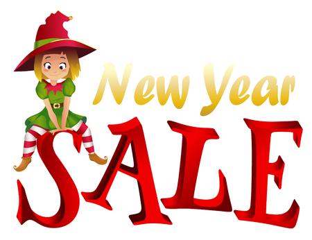 santa s elf: Christmas sale design template. Santa Claus elf helper sitting on the letter S. New Year Sale Illustration