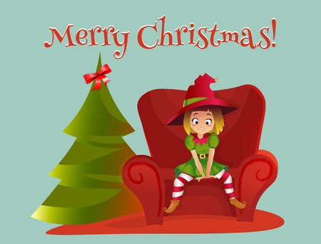 Merry Christmas and Happy New Year. Cartoon  illustration. Red sofa. Happy elf helper character. girl sitting on the sofa. christmas tree. Illustration