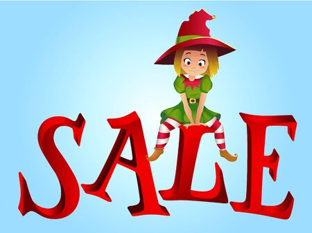 santa helper: Christmas sale design template. Santa Claus elf helper sitting on the letter S. New Year Sale. Christmas Discount horizontal banner with Smiling Happy Santas Elf Helper
