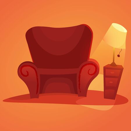 Cozy home stuff. red sofa. cartoon armchair and luminous table lamp Isolated object background. Ilustração