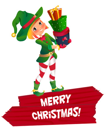 santa s helper: Santa Claus elf helper child. Santa helper traditional costume. red wooden banner. Merry Christmas. elf Santa s assistant with gifts isolated on a white background