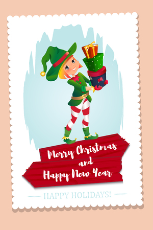 santa helper: Santa Claus elf helper child. Santa helper traditional costume. red wooden banner. Merry Christmas. elf Santa s assistant with gifts isolated on a white background. congratulations card. Illustration