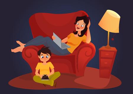 niños platicando: El chat en línea Foro de mensajería. Web Ilustración de dibujos animados de Comunicación. la adicción gadget. independiente.