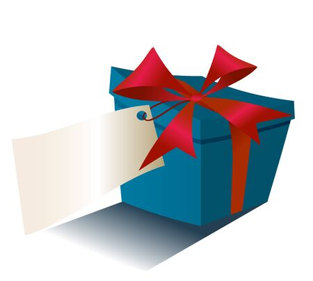 red gift box: blue gift box with red ribbon isolated . box with label