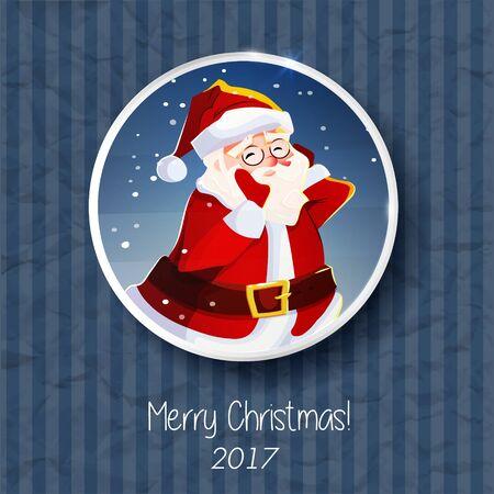 Portrait Du Père Noël Bannière D Affiche De Carte De Noël Personnage De Dessin Animé Fond Bleu