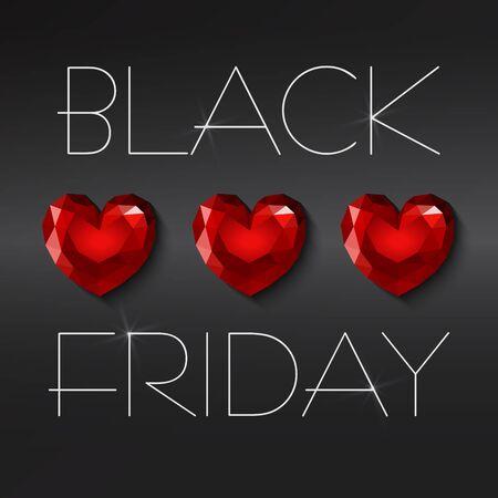 Black friday sale, hearts. Illustration