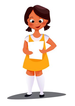 indian teenager: African American girl. cheerful little girl with white blank Illustration