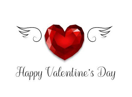 coeur diamant: Carte Happy Valentines Day avec le coeur de diamant avec des ailes