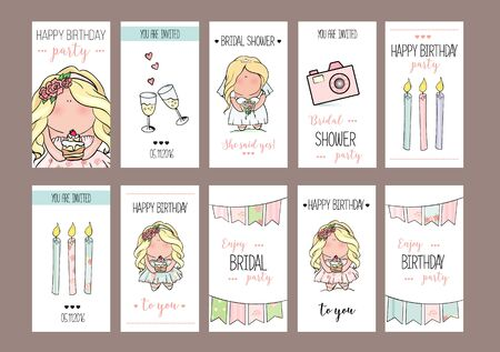 Bachelorette or birthday party cards template. bridal shower. print on t-shirt. wedding. 2 glasses of champagne, candles, flags