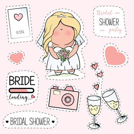 bachelorette: Bachelorette or wedding party stickers. bridal shower. print on t-shirt. wedding. 2 glasses of champagne, candles, hearts, camera, bride