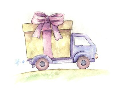 hand truck: free delivery truck. hand drawn watercolor sketch
