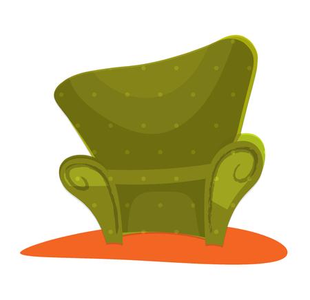 Green modern style Armchair in cartoon Illustration