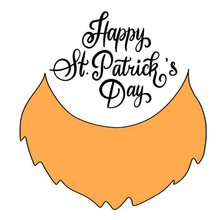 Modern calligraphy flat style. Handwritten lettering composition of Happy St. Patricks Day on white background for greeting card, poster, invitation to irish party with design element, clover for luck. Vector eps10