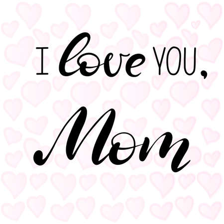 Happy Mothers Day feminine lettering on a white background with texture. Happy Mothers Day hand written modern calligraphy style postcard, invitation, poster, banner, greeting card. Vector EPS10. Иллюстрация