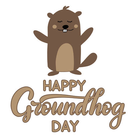 Vector Happy Groundhog Day design with cute marmot popping up from his burrow. Lettering text for greeting card. Vector cartoon illustration. EPS10 向量圖像