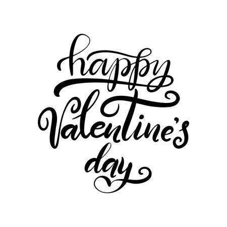 Lettering illustration for Happy Valentines Day. Romantic invitation or greeting card, typography poster with modern calligraphy. Vector Illustration with texture eps10