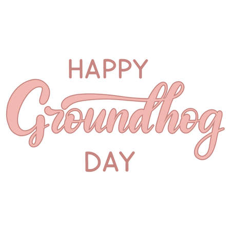Vector Happy Groundhog Day design with cute marmot popping up from his burrow. Lettering text for greeting card. Vector cartoon illustration. EPS10 Иллюстрация