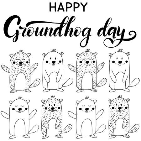 Vector Happy Groundhog Day design with cute marmot popping up from his burrow. Lettering text for greeting card. Vector cartoon illustration. EPS10 Illustration